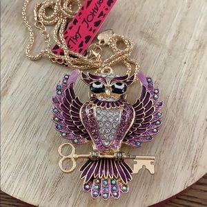 New Betsy Johnson Purple Owl Necklace 2 x3""